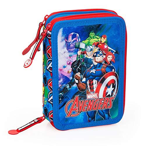 J. M. INCIO, LDA. Avengers - Astuccio Scuola 3 Zip Originale Avengers - Completo di 44 Pezzi (Rosso/Azzurro)