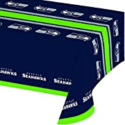 National football league team logo plastic table cover, Seattle Seahawks Rectangle, 54-inch wide x 102-inch long Fits standard banquet tables up to 8 feet in length Disposable light-medium weight plastic See coordinating NFL team disposable plates, n...