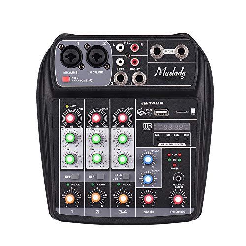 Muslady Console Mixer 4 canali Scheda Audio Mixing Digitale Audio Compatto BT Ingresso USB MP3 + Phantom Power 48V per la Registrazione Musicale DJ Network Trasmissione in Diretta Karaoke (US-Nero)