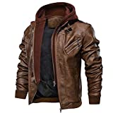 FEDTOSING Men's Faux Leather Jacket Retro Zip-UP Motorcycle Jackets with Removable Hood (Brown-7 L)