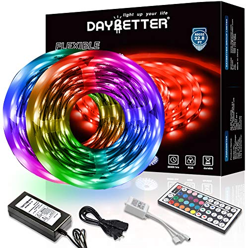 DAYBETTER Led Strip Lights 32.8ft 10m with 44 Keys IR Remote and...