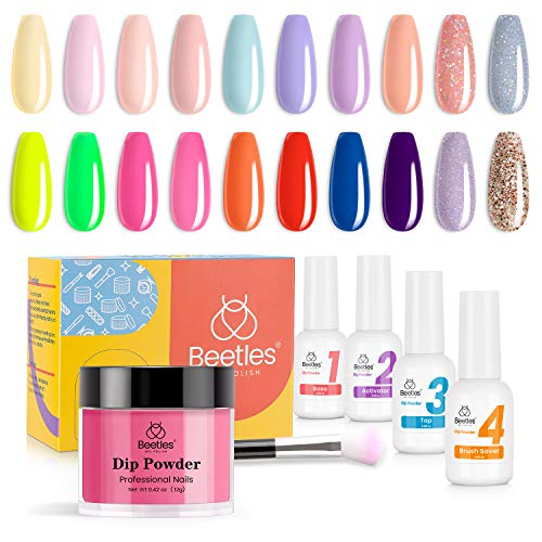 Beetles Dip Powder Nail kit, Dip Nails Powder Starter Kit with 20 Nude Pink Red Pastel Neon Blue Dip Powder Colors Best Gift Collection with Dip Powder Base Activator and Top Coat