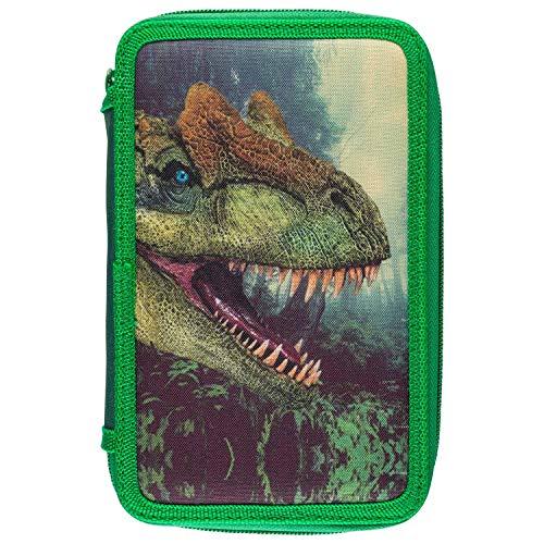 Idena- Astuccio Triple con 3 Cerniere, Design Dinosauri, 43 Pezzi, Riempito Colorate, Righello, Matita e Accessori, Circa 20 x 12,5 x 6 cm, Scuola, 22913