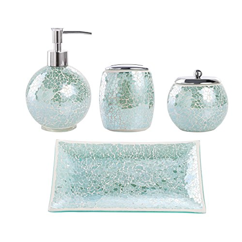 Whole Housewares Bathroom Accessories Set, 4-Piece Glass Mosaic Bath Accessory Completes with Lotion Dispenser/Soap...