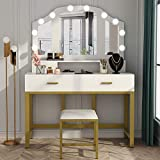 """Tribesigns 47"""" Large Vanity Set with Tri-Folding Lighted Mirror, Elegant Makeup Table Vanity Dresser with 4 Drawers, 10 LED Lights and Cushioned Stool, Dressing Table for Girls Bedroom, White Gold"""