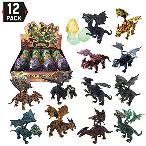 Liberty Imports 12 Pack Deluxe 3D Action Figures Realistic Figurine Puzzles in Jurassic Hatching Eggs - Ideal Kids Toy Party Favors Bulk Supplies (Dragons)