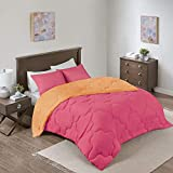 Comfort Spaces Vixie Comforter Set-Modern Geometric Quaterfoil Cloud Quilted Design All Season Down Alternative Bedding, Matching Shams, Full/Queen(90'x90'), Microfiler Reversible Pink/Orange