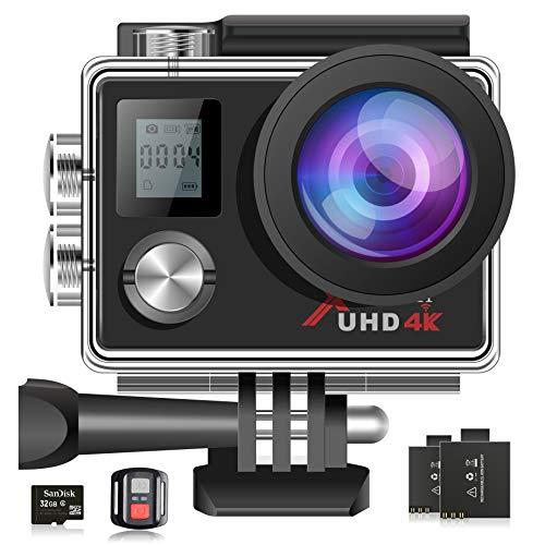 Campark ACT76 Action Cam 4K WiFi 16MP Ultra HD Sport Action Camera con Dual Screen Telecomando 170° Grandangolare Due 1050mAh Batterie e Kit Accessori con scheda di memoria 32G
