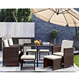 GUNJI 9 Pieces Patio Dining Sets Outdoor Furniture Outdoor Space Saving Rattan Chairs with Glass Table Patio Furniture Sets Cushioned Seating and Back (Beige)