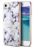 ULAK iPhone 8 Case Marble, iPhone 7 Case, iPhone SE Case 2020, Stylish Design Clear Bumper Glossy TPU Protective Phone Case Compatible with iPhone 7, iPhone 8, New iPhone SE, Marble