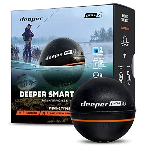 Deeper Pro Plus 2 Ecoscandaglio Portatile e da Lancio, con GPS Integrato per Kayak o Barche da Riva Pesca sul Ghiaccio Pesca alla Carpa Ecoscandaglio Smart Wireless Ecoscandaglio Radar da Pesca