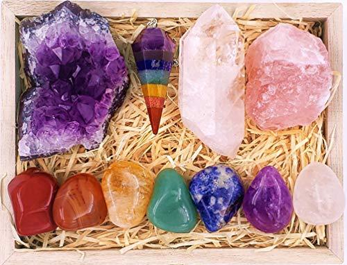 Premium Healing Crystals Kit in Wooden Box - 7 Chakra Set...