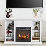 GOOD & GRACIOUS Electric Fireplace TV Stand, Fit up to 50' Flat Screen TV with Four Tempered Glass Open Shelves Entertainment Center for Living Room, White