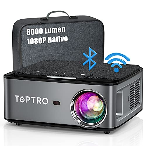 Beamer, 8000 Lumen Beamer Full HD, WiFi Bluetooth Beamer 4K Native 1080P LED Heimkino Video Projector kompatibel mit Fire TV Stick, iOS /Android Smartphone, MAC/PC/Laptop, PPT, PS5