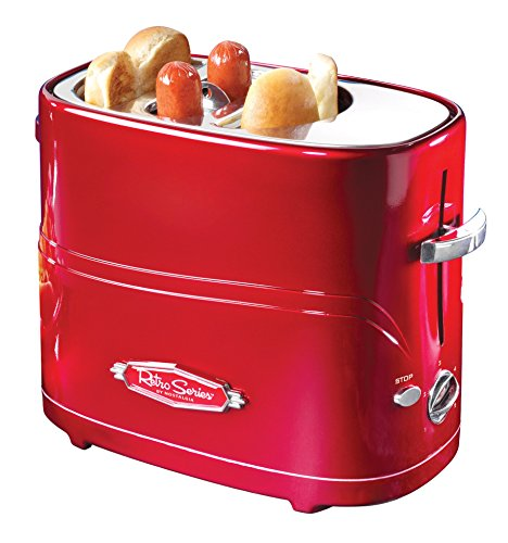 Nostalgia HDT600RETRORED Pop-Up 2 Hot Dog and Bun Toaster With...