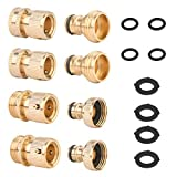 Growom Garden Hose Quick Connector 3/4 inch GHT Solid Brass Quick Hose End Garden Hose Nozzle Connect Kit Quick Disconnect Hose Fittings, Male & Female Connectors with 8 Extra Washers, 2 Sets
