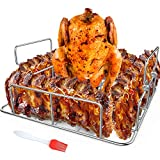 RUSFOL Beercan Chicken Roaster and Rib Rack with a Silicone Oil Brush, Square Stainless Steel BBQ Stand for Smoker,Oven and Grill, Cook Up to 4 Ribs and a Whole Chicken at a time