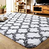 LOCHAS Luxury Velvet Shag Area Rug Modern Indoor Plush Fluffy Rugs, Extra Soft and Comfy Carpet, Geometric Moroccan Rugs for Bedroom Living Room Girls Kids Nursery (5x8 Feet, Grey/White, HS1)