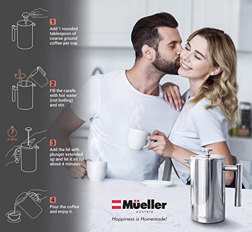 Mueller French Press Double Insulated 310 Stainless Steel Coffee Maker 4 Level Filtration System, No Coffee Grounds, Rust-Free, Dishwasher Safe 12