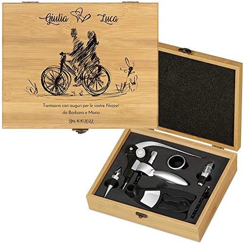 MURRANO Kit accessori da vino Deluxe - Set Cavatappi da Vino Personalizzato - Scatola in legno di bamb + 8 pezzi di Accessori Vino - idee regalo per anniversario - Bici