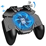 Mobile Game Controller w/ L1R1 L2R2 Triggers [ 6 Finger ], PUBG/COD Mobile Controller w/Cooling Fan & 1200mAh Power Bank, Gaming Grip Joystick Gamepad, Shoot Aim Keys for 4.7-6.5' Android iOS Phone