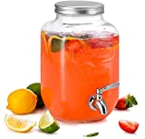 KooK Mason Jar Glass Drink & Beverage Dispenser with Stainless Steel...