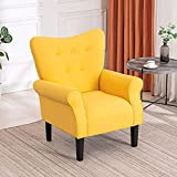 Mellcom Mid Century Wingback Arm Chair,Modern Upholstered Fabric High Back Accent Chair with Wood Legs,Upholstered Single Sofa Club Chair for Living Room, Bedroom, Home Office, Yellow