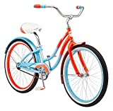 Kulana Lakona Shore Youth Beach Cruiser Bike, 24-Inch Wheels, Single Speed, Blue/Coral (R1751AZ)