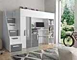 Etagenbett für Kinder PARTY 14 Stockbett mit Treppe und Bettkasten KRYSPOL (Weiß + Grau Glanz)