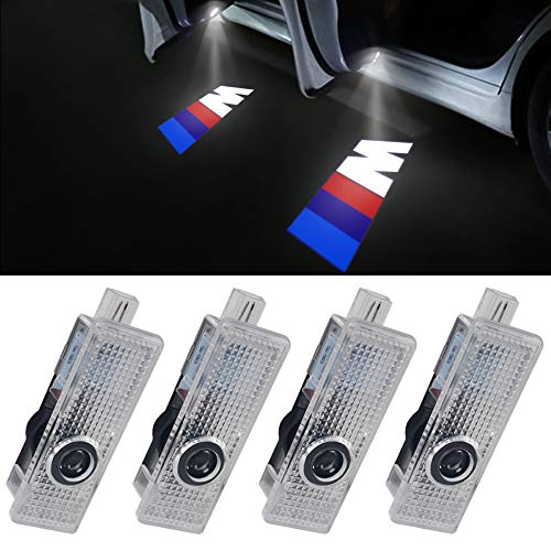 4 Proiettori LED a scomparsa per portiera auto con logo M di Welcome Step