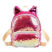 Ocitop Gorgeous Sequins กระเป๋าเป้หูแมวกระเป๋าสะพายหญิงกระเป๋าเป้ใบเล็ก, สีชมพู, 200 * 170 * 90 มม.