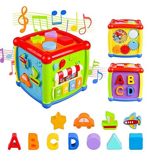 AiTuiTui Cubo attività Bambino, 6-in-1 Multifunzione Giochi Centri Educativi Prima Scatola di apprendimento Infanzia Giocattoli per Bambini Regalo di Natale Compleanno