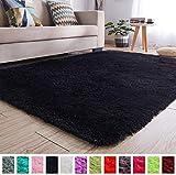 PAGISOFE Black Fluffy Shag Area Rugs for Bedroom 5x7, Soft Fuzzy Shaggy Rugs for Living Room Carpet Nursery Floor Girls Room Dorm Rug
