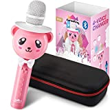 KaraoKing Karaoke Microphone for Kids - Wireless, Bluetooth Karaoke Machine for Toddlers & Kids in Comic Bear Shape - Includes Mic with Speaker, Perfect for Rock n' Roll Parties (S9 Pink)