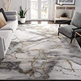 Safavieh Craft Collection CFT877F Modern Abstract Non-Shedding Living Room Bedroom Dining Home Office Area Rug, 5'3' x 7'6', Grey / Gold