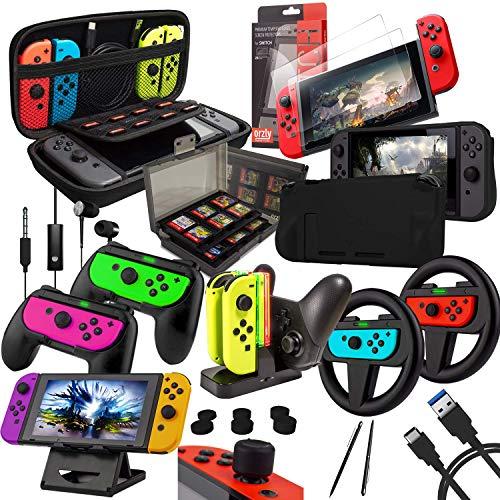 Orzly Geek Accessoires Pack pour Nintendo Switch: Housse & Protection écran, Volants & Grips Joy-Con, Dock Chargeur pour Les manettes & Console Switch, et Plus d' Accessoires. [Noir]