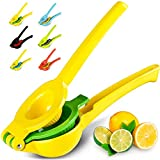 Zulay Metal 2-In-1 Lemon Lime Squeezer - Hand Juicer Lemon Squeezer - Max Extraction Manual Citrus Juicer (Kitchen)