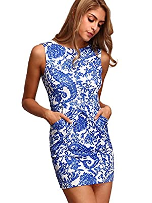 """95% polyester, 5% spandex Sleeveless, round neck, side pockets Stretchy, mini, printed, bodycon dress Model: Height:173cm/5'8"""", Bust:89cm/35"""", Waist:60cm/24"""", Hip:90cm/35"""", Wear: Size S Please refer to Size Chart in Product Description as below"""
