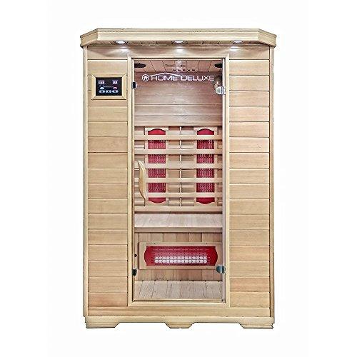 Home Deluxe – Infrarotkabine – Redsun M – Keramikstrahler – Holz: Hemlocktanne - Maße: 120 x 105 x 190 cm – inkl. vielen Extras und komplettem Zubehör