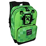 JINX Minecraft Creepy Creeper Kids School Backpack, Green, 17'