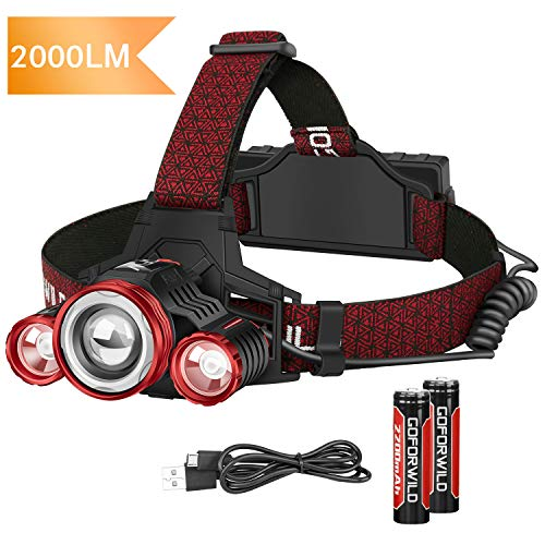 Headlamp, Upgraded 2000 Lumen Brightest Rechargeable LED Headlamp for Adults, With Battery Level Indicator, 4 Light Modes zoomable work light, Waterproof Head Lights for Camping, Hiking, Outdoor