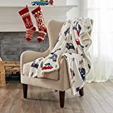 Home Fashion Designs Premium Reversible Two-in-One Sherpa and Fleece Velvet Plush Blanket. Fuzzy, Cozy, All-Season Berber Fleece Throw Blanket. (Trees & Trucks)