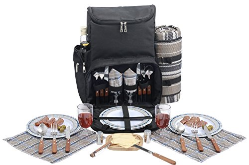 for Camping//BBQ//Family Outdoor Activities ZFSWMY Picnic Backpack Picnic Backpack For 4 Person Set Pack With Oversized Water Resistant Blanket For Family Outdoor Camping Black