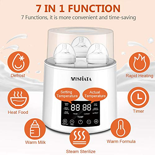 MOSFiATA-Bottle-Warmer-and-Sterilizer-BPA-Free-4-Bottles-Capacity-7-in-1-Steam-Baby-Bottle-Warmer-with-05-to-24-Hrs-Timer-Bottle-Sterilizer-with-LED-Display-Fast-Food-Heater-with-Brushes-and-Tongs