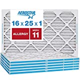 Aerostar Allergen & Pet Dander 16x25x1 MERV 11 Pleated Air Filter, Made in the USA, 6-Pack