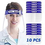 SGODDE 10 Pcs Pantalla Protección Facial Transparente, Protector Facial de Seguridad, Viseras de Seguridad Facial Reutilizable, Protector Facial Ajustable Ligera Antivaho,Aantipolvo y Evitar la Saliva