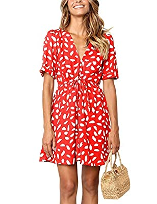 Front button up and drawstring closure Short cuffed sleeves, sexy V neck, empire waist Thigh length, slim fit, flowy A line short swing sundress Stylish chic leopard polka dots like print, casual party vacation tunic dress All items are US SIZE