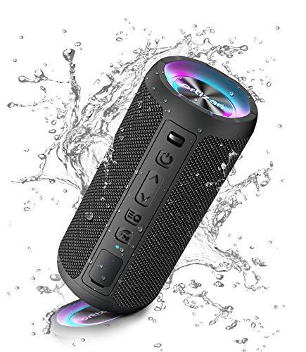 Ortizan Enceinte Bluetooth Portable sans Fils.lumière LED, IPX7 Lecture 30H, Volume Plus Fort et Basses améliorées,Durable pour Les Voyages, l'extérieur