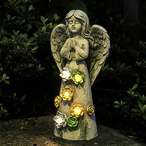 WEFINDER Garden Decor Angel Statue, Solar Powered Praying Fairy Angel...