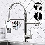 Qomolangma Contemporary Spring Kitchen Sink Faucet with Pull Down Sprayer, High Arch Commercial Stainless Steel Single Handle Spring Kitchen Faucets with Sprayer,Brushed Nickel